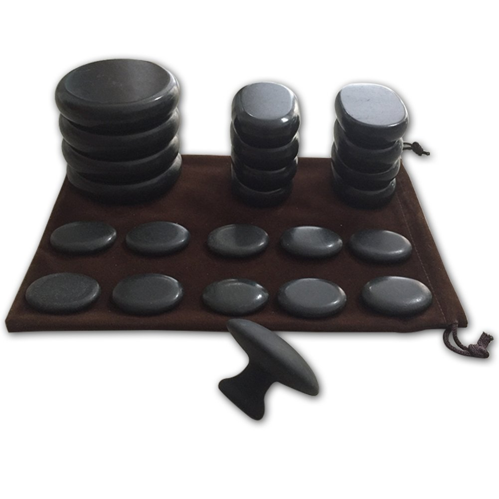 Massage Hot Stones with Mushroom Shaped Massage Guasha Tool, 23 pcs in Total, Hot Stone Massage Kit, Hot Stone Massage Warmer,Basalt Hot Stone for Spa, Massage Therapy, Storage Velvet Bag Included