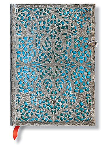 Decorated Journal (Paperblanks Deluxe Jumbo Maya Blue Midi Journal with Decorated Endpapers)