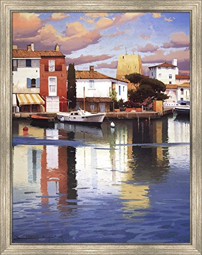 (Harbor at Morning Light by Ramon Pujol Framed Art Print Wall Picture, Silver Scoop Frame, 29 x 36 inches)