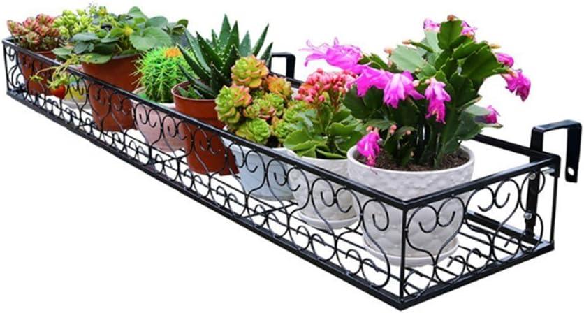 WJS Barandilla Colgante Soporte de Flores, balcón Barandilla Colgante Maceta de Flores Estante Estante de Hierro Forjado Estante Colgante Estante de Flores carnosas Estante de la Planta Escalera