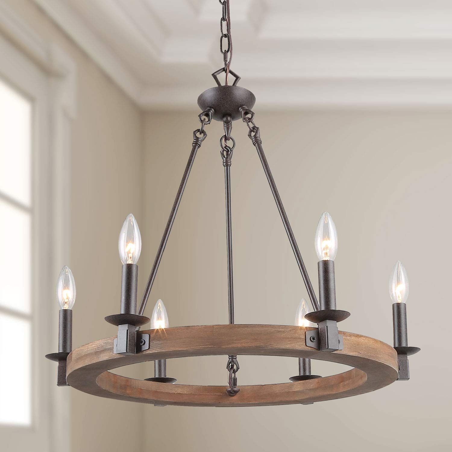 LNC Farmhouse Chandelier, Pendant Lighting for for Kitchen Island Dining Rooms Bedrooms, A03300