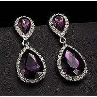 siamsmilethailand Gorgeous 925 Silver Amethyst Stud Dangle Earrings Wedding Proposed Women Jewelry