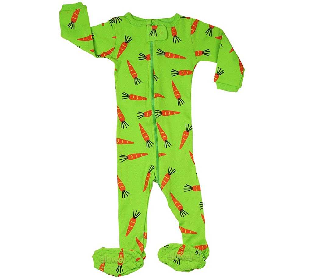 64104e38e0 Amazon.com  Elowel Baby Girls Footed Carrots Pajama Sleeper 100% Cotton  18-24 Months  Clothing