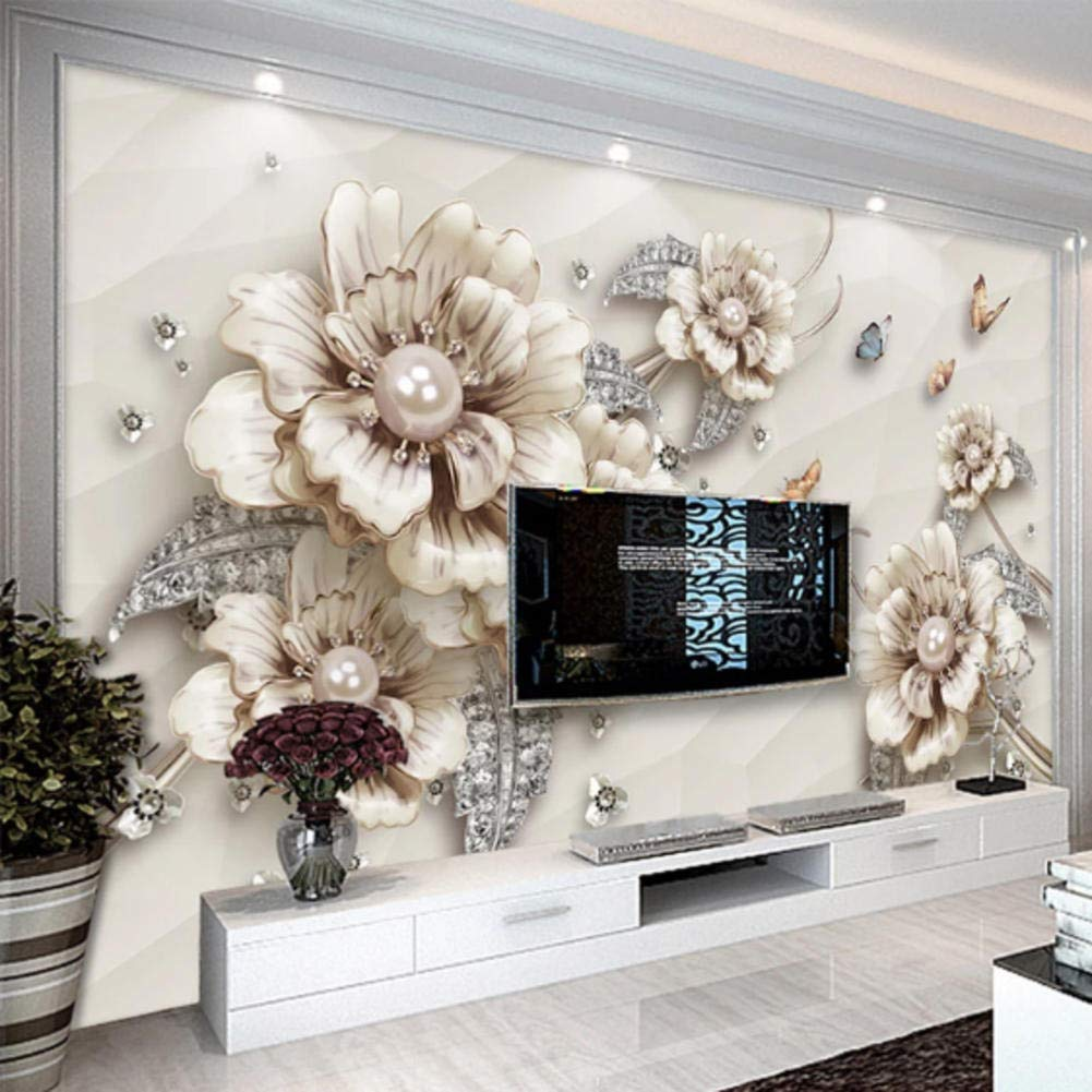 Bhposd 3D Wallpaper Modern Jewelry Flowers Photo Wall Murals Living Room Tv Sofa Theme Hotel Luxury Background Wall Painting Home Decor-200X140Cm