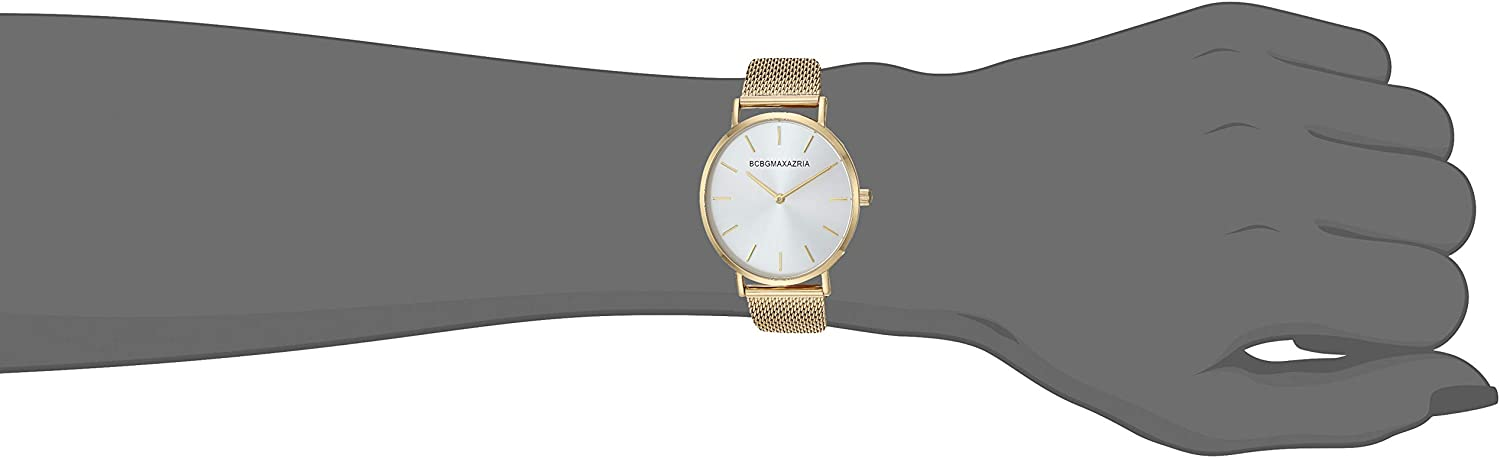 BCBGMAXAZRIA Women's Japanese-Quartz Stainless Steel Case Stainless-Steel Strap Casual Watch Gold