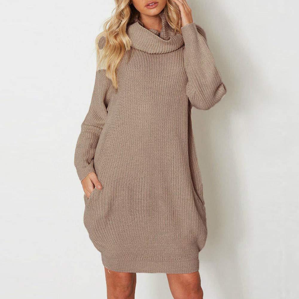 ZODOF Mujeres Floja Ocasional Suéter Pullover Suéter de Punto Punto de Cuello Alto para Mujer de Manga Larga Suelta Bolsillo suéter suéter Mini Vestido: ...