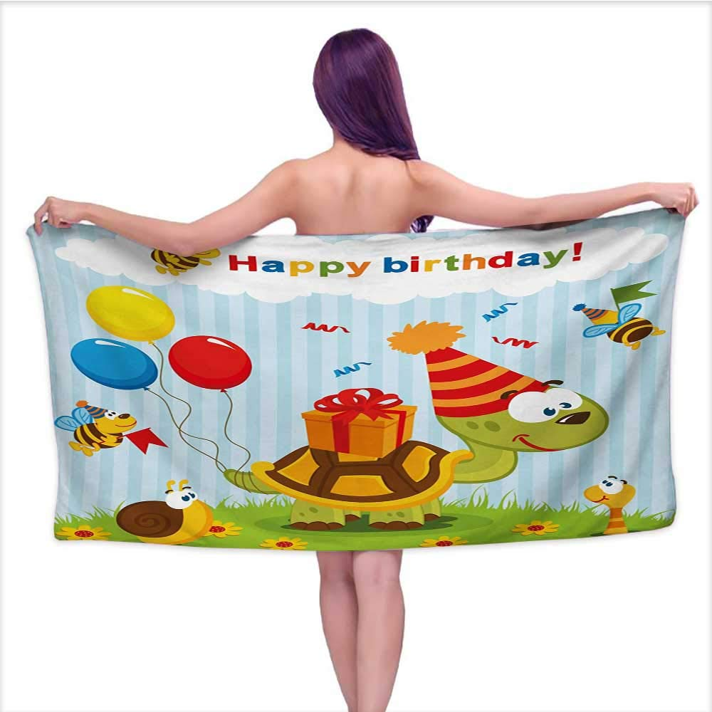 Onefzc Travel Bath Towel Kids Birthday Cartoon Turtle with Birthday Cone Fun Celebration Hat Baloons Bees Presents Super Soft Highly Absorbent W35 x L12 Multicolor