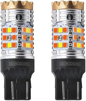 No Load Resistor Need Standard Socket Pack of 2 White Daytime Running Parking Light LASFIT CANBUS Anti Hyper Flash 7443 7444 T20 Dual Color Switchback LED Amber Turn Signal Light Blinker Bulbs
