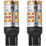 LASFIT CANBUS Anti Hyper Flash 7443 7444 T20 Dual Color Switchback LED Amber Turn Signal Light Blinker Bulbs, White…