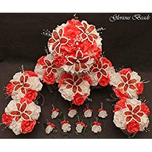 Wedding Flowers Coral Tangerine BEADED Lily Bouquet 16 piece package with boutonnieres. Perfect for Quinceanera. Other colors available in my Amazon store. 101