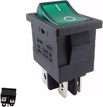 Einbau Wippenschalter beleuchtet Netzschalter Einbauschalter 2-polig grün 15A