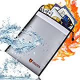 HUICOCY Fireproof Document Bag,Security Non-Itchy Silicon Coated Fire Proof Money Bag,Dual Layer Waterproof Safe Storage Bag for Cash,Documents,Passport,Birth Certificate(15.4''x11.4'')
