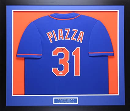 watch 584f2 6982b Mike Piazza Autographed Blue Mets Jersey - Beautifully ...