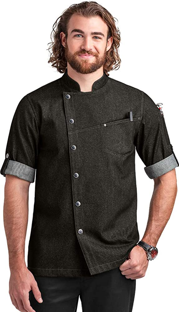 Men's Asymmetrical Premium Denim Chef Coat with Mesh Side Panels (S-3X)