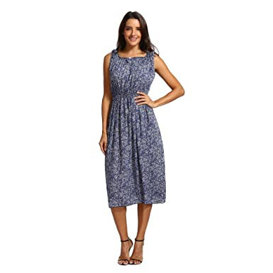 1475337728b Women s Dresses Sleevless Summer Floral Dress Knee Length Casual Boho Print  Swing Midi Dress Loose Holiday Beach Sundress for Ladies Teen Girls Evening  ...
