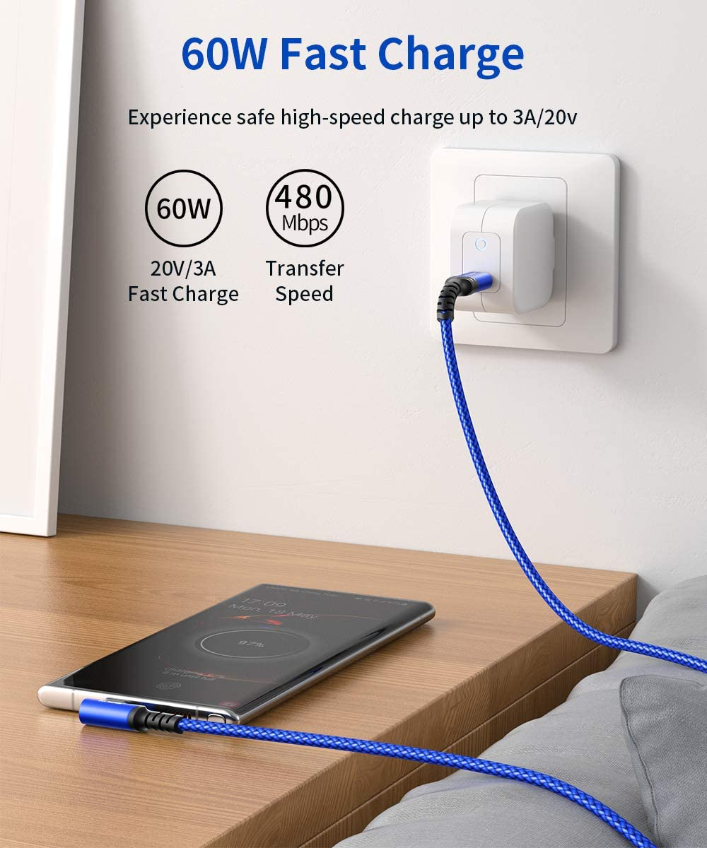 iPad Pro 2020//2018 JSAUX Type C Cord 60W PD Charger Compatible with Samsung Galaxy S20+ Note 20 Note 10+ etc Pixel 2//3//4 XL 2-Pack 6.6ft USB C to USB C Cable Right Angle 90 Degree MacBook Air