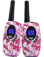 Upgrow 2X Walkie Talkies Kinder Funkgeräte Set 8 Kanäle 2-Wege Radio Walki Talki Funkhandy Interphone mit LCD Display, Kinder Speilzeug und Geschenk (Rosa+Weiß)