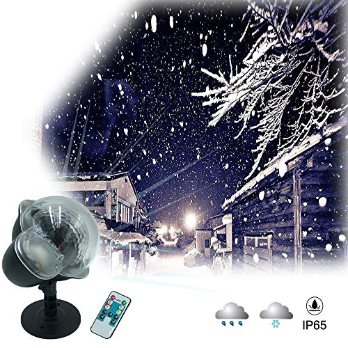 (Christmas Snowfall Light,IP65 Waterproof Projector Light Timer Speed/Flash Control with RF Remote, Snow Falling Light for Christmas, Halloween, Party, Wedding or)