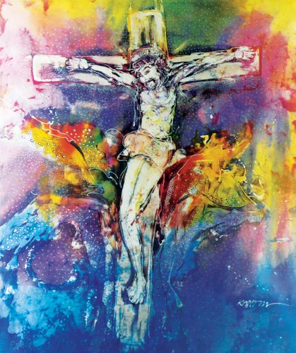 Original Batik Art Painting on Cotton Fabric, 'Jesus on Cross' by Kapitan (75cm x 90cm) by Fine Batik