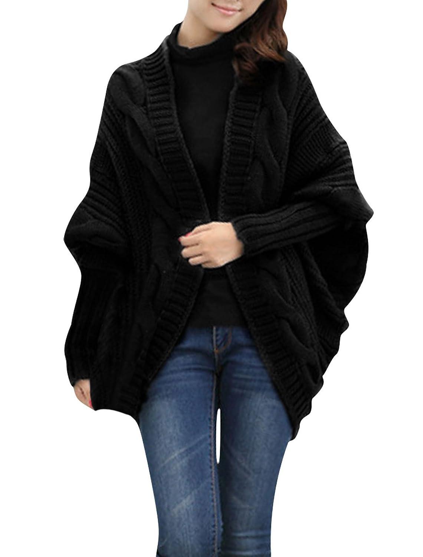 Women Long Sleeve Dolman Design Front Opening Chunky Knitting Cardigan