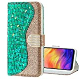EnjoyCase Bling Case for Xiaomi Redmi Note 7 Pro,Shiny Glitter Laser Pu Leather Diamond Magnetic Clasp Bookstyle Soft Tpu Inner Flip Wallet Case Cover for Xiaomi Redmi Note 7 Pro