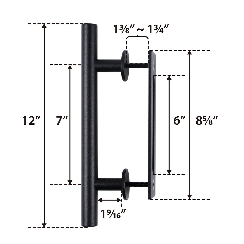 SMARTSTANDARD 12 Pull and Flush Door Handle Set in Black Square Sliding Barn Door Hardware Handle Pull Set