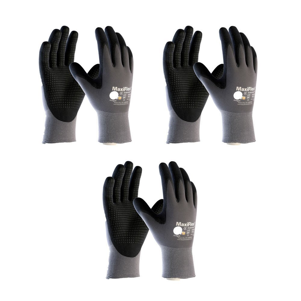 3 Pack MaxiFlex Endurance 34-844 Seamless Knit Nylon Work Glove with Nitrile Coated Grip on Palm & Fingers, Sizes Small to X-Large