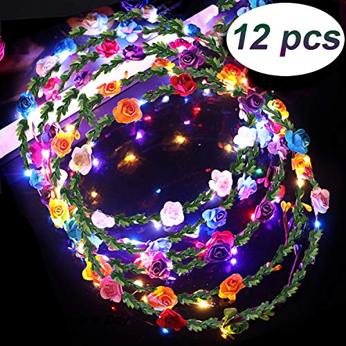 LED Flower Crown Glow in The Dark Party Favors, 12 Pack Adjustable Flower Wreath Headband Luminous 10 LED Flower Headpiece Flower Headdress for Girls Women Wedding Holiday Gifts Dress Up Accessories