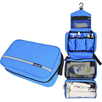 2b0c519309d5 Amazon.com   Travel Cosmetic Bag Men Wash Shaving Bag Waterproof Women  Toiletry Storage Large Capacity Vanity Organizer Toilet Bag Blue   Beauty