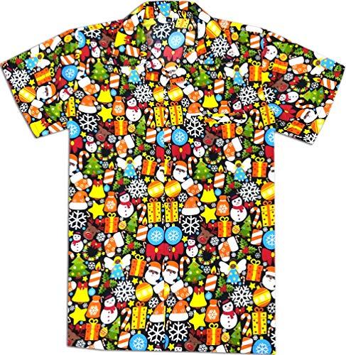 Virgin Crafts Hawaiian Christmas Shirts for Men Santa Claus Beach Holiday Party Casual Shirt