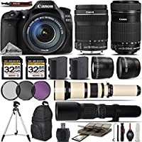 Canon EOS 80D Digital SLR Camera + Canon 18-135mm STM Lens + Canon 55-250mm STM Lens+ 0.43X Wide Angle Lens + 2.2x Telephoto Lens + 650-1300mm Zoom Lens + 500mm Telephoto Lens- International Version