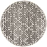 Safavieh Amherst Collection AMT412C Grey and Light Grey Indoor/Outdoor Round Area Rug (5' Diameter)
