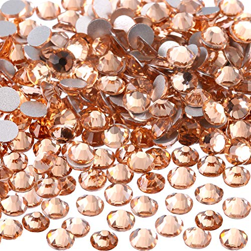 eBoot 1440 Pack Crystal Flat Back Rhinestone Round Diamante Gems, Non-Self-Adhesive (Gold Shadow, 4 MM)