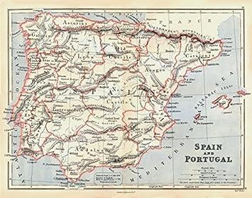 Iberia. España y Portugal Mostrando Provincias. Butler – 1888 – Old Antiguo Mapa Vintage – Juego de funda nórdica Mapas de Iberia: Amazon.es: Hogar