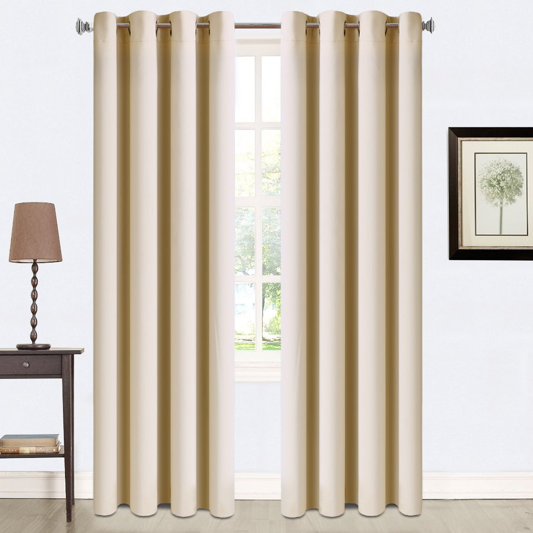 Beige Balichun 2 Panels Blackout Curtains Thermal Insulated Grommets Darkening Drapes