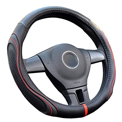 U&M Microfiber Leather Auto Car Steering Wheel Cover Universal Fit 15 Inches,Anti-Slip, Odorless, Warm in Winter and Cool in Summer (Black): Automotive
