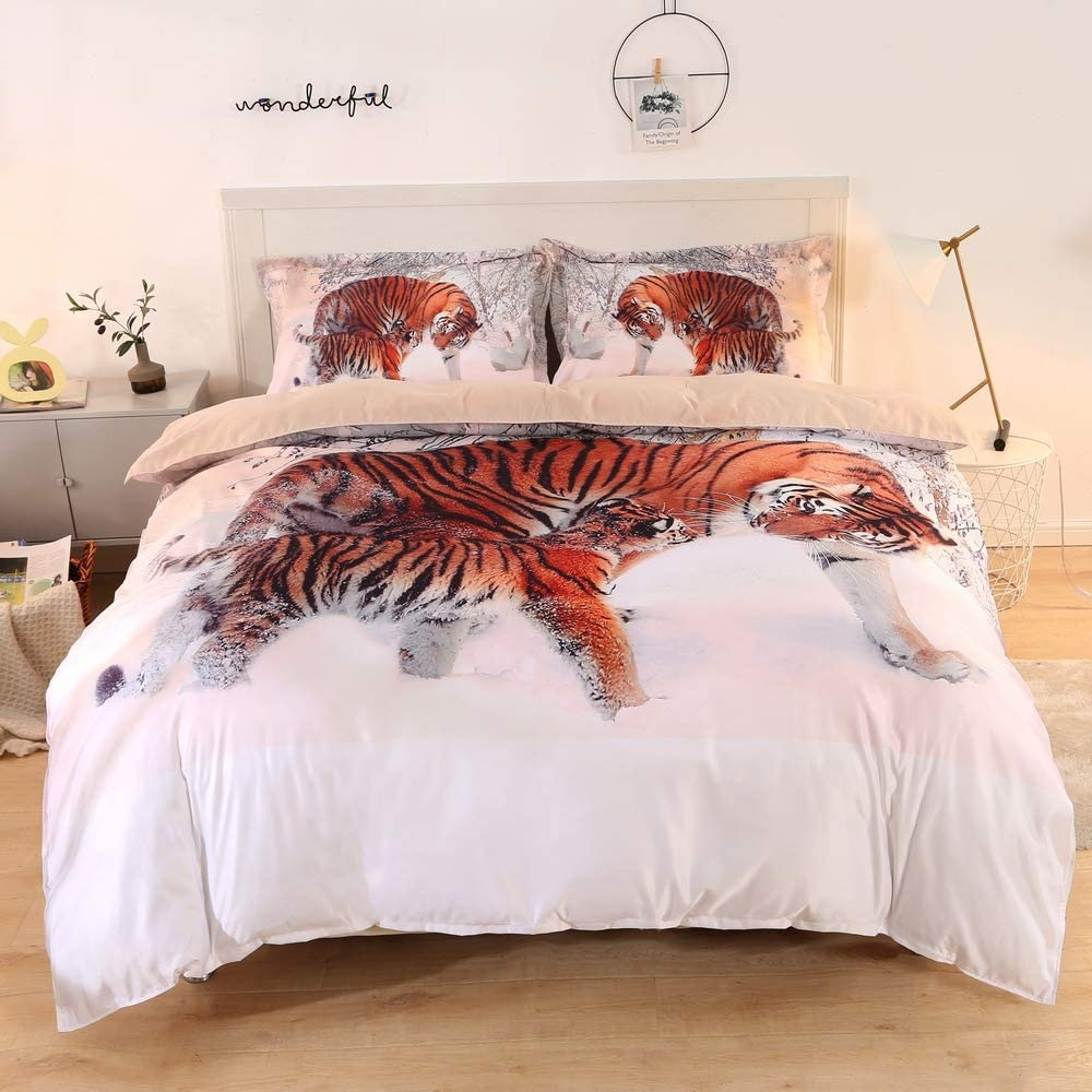 ENJOHOS 3D Tiger Bedding Set Cool Animal Print Duvet Cover with 2 Matching Tiger Pillow Cover 3-Piece Soft and Comfortable Bed Set for Teens Boys and Adults, King Size
