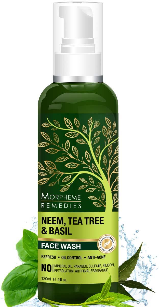 Morpheme Remedies Neem, Tea Tree & Basil - Oil Control, Anti Acne Soap Free Face Wash - 120ml