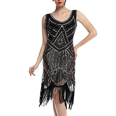 iYmitz Damen Jahrgang 1920 Kleids Pailletten Perlen Partykleider Bridal  Quasten Party Nacht Flapper Kleid Ballkleider  Amazon.de  Bekleidung ad4931c0fd