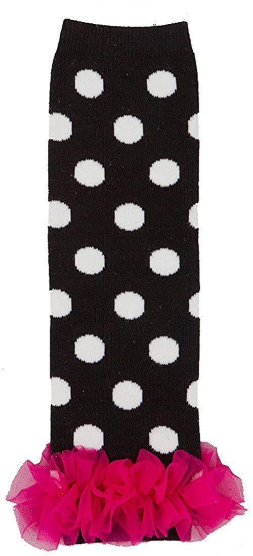 Wenchoice Girl's Black & Hot Pink Polka Dot Chiffon Ruffle Leg Warmers One Size