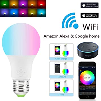 sinotechqin  SINOTECHQIN 1PC Smart WiFi LED Light Bulb Adjustable Multicolor ...