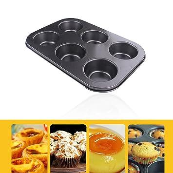 Bandeja para hornear Cake Cookies | 6 agujeros antiadherente para magdalenas para tartas para horno bandeja de horno de pan para galletas Cup Cake Maker ...