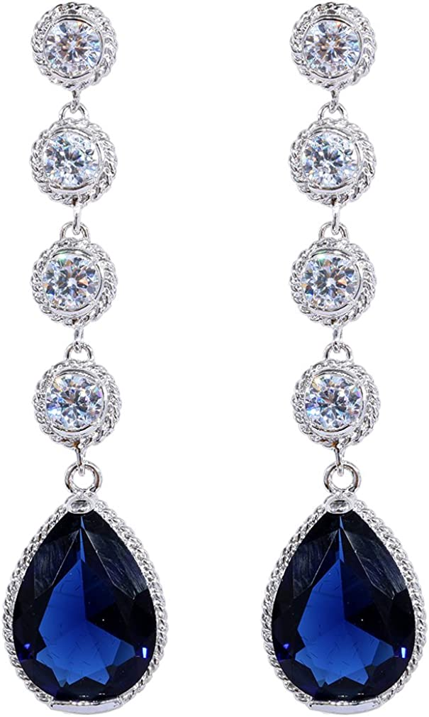 plata Yazilind elegante plateado alrojoedor Pear cortada cúbico Circonita perfecto cuelga los pendientes
