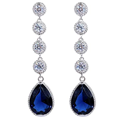 Yazilind Dazzling Silver Plated Round Pear Cut Cubic Zirconia CZ Flawless Stud Earrings 0yTP68