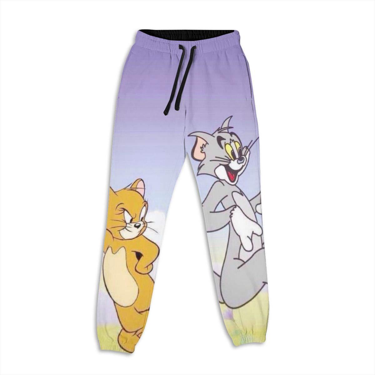 Xzcxyadd Womens Jogger Lounge Sleep Sweatpants Pajamas Pants Tom and Jerry Funny Print Drawstring Lounge Pants (S-XXL)