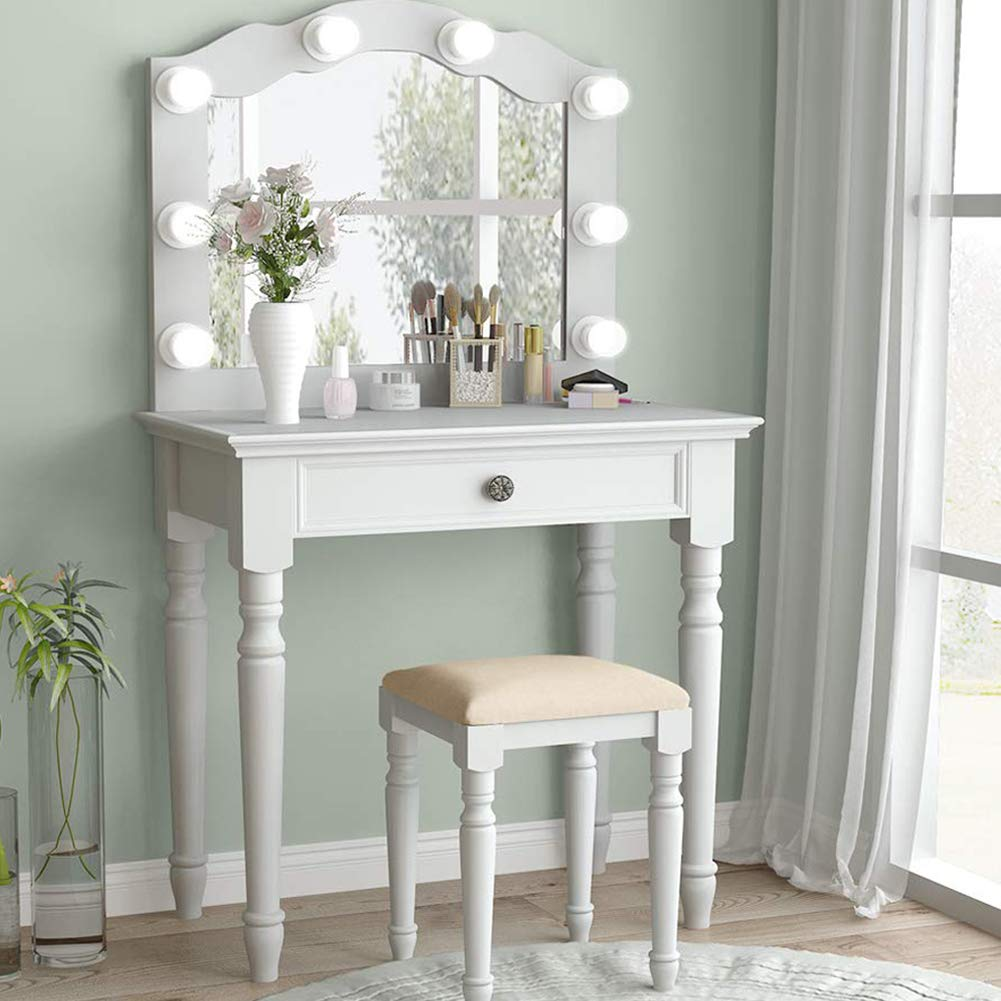 Tribesigns White Vanity Set with Lighted Mirror, Makeup Dressing Table and Stool Set with Large Drawer, Dresser Table Set for Women (White) by Tribesigns