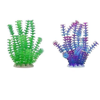 FancyU Plantas acuáticas Artificiales, Plantas de Acuario Decoraciones de acuarios de plástico para acuarios
