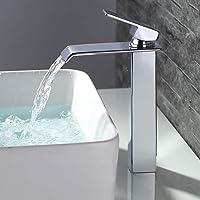 HOMELODY Kraan badkamer hoge waterval, vierkant badkraan wastafelarmatuur eengreepsmengkraan, wastafelarmatuur…