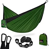 AnorTrek Camping Hammock, Super Lightweight Portable Parachute Hammock with Two Tree Straps (Each 5+1 Loops), Single & Double