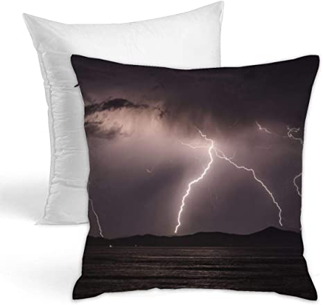 Amazon Com Kiengg Thunder And Lightning Decorative Throw Pillow For Bed Couch Cushion Cover Square Pillowcases 18 X 18 Inches Double Side Contain Pillow Core Home Kitchen